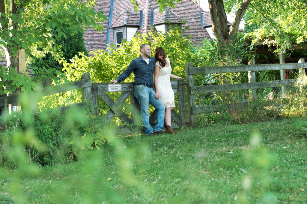 natalie and adam in the gardens at penitentary glen reservation for engagement photos